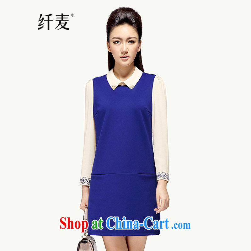 The Mecca, the 2014 autumn and winter new Korean Hit color stitching thick girls with dresses 43,169 blue 6 XL