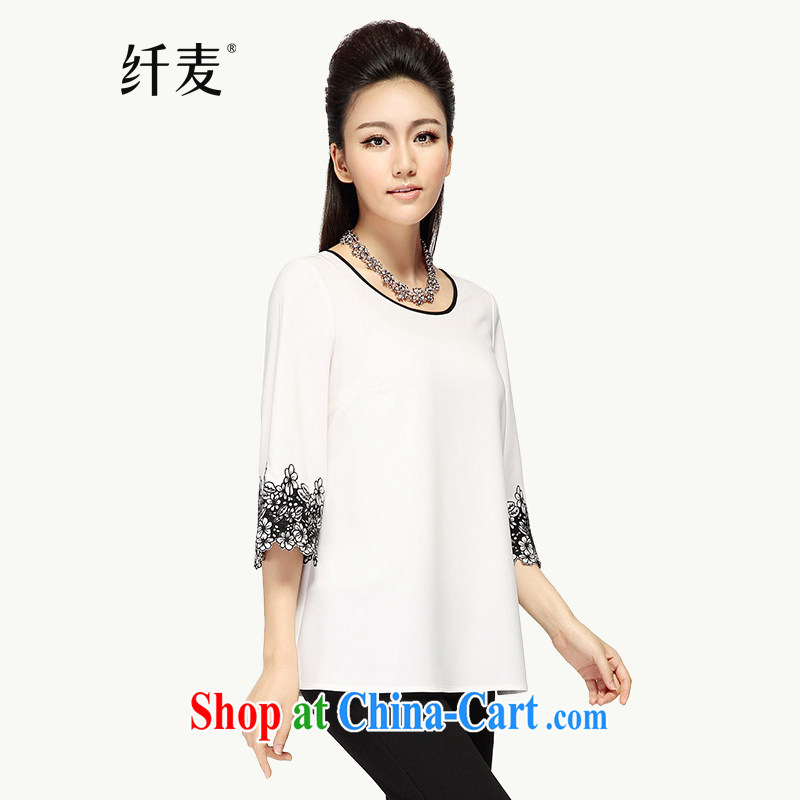 The wheat fall 2014 a Code women mm thick loose embroidered 7 sub-sleeved T-shirt 43,182 white 2 XL