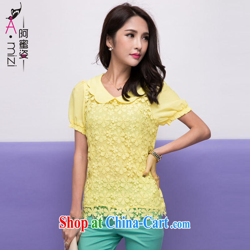 The honey and diverse new summer edition Korea snow woven shirts bubble cuff large code beauty lace T-shirt T shirts female 85,288 yellow XXXXL