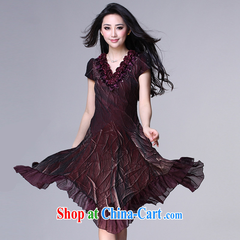 Standing wave the mother load 2015 new summer elegance elegant beauty graphics thin large code, dresses wine red XXXXL