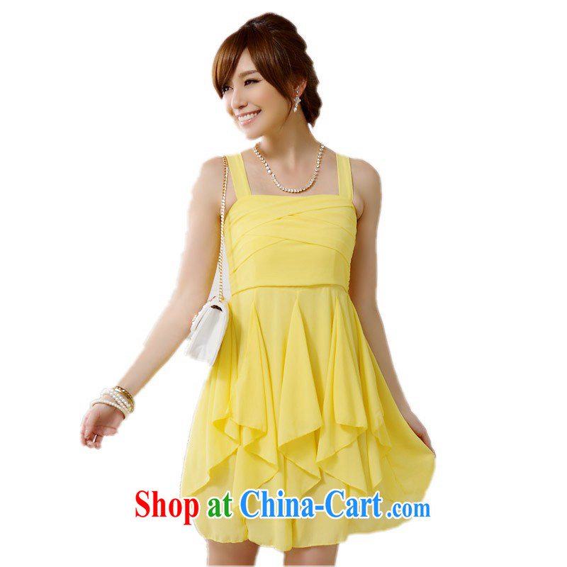 The delivery package as soon as possible e-mail in the jumbo to dress XL small dress 2014 summer Korean sister bridesmaid dress straps sexy dresses in yellow XXL approximately 135 - 150 jack