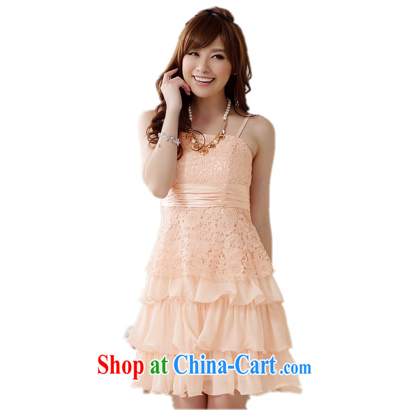 The delivery package mail, as soon as possible, to dress up, small dress lace dream Princess straps dresses wedding bridesmaid dresses thick pink XXXL approximately 160 - 180 jack