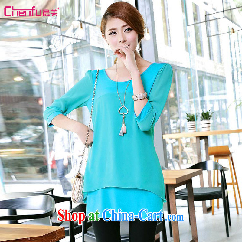 Morning would be 2015 mm thick larger female Korean spring new knitting snow woven stitching, sleeve T-shirts solid color double-decker, with cultivating snow green 5 XL recommendations 180 - 200 jack