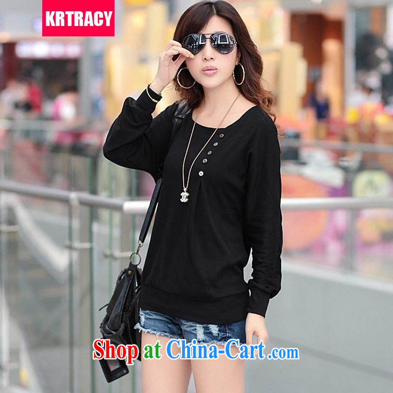 KRTRACY autumn 2014 new Korean fashion ladies round collar long-sleeved loose, long T pension increase, female T pension SY 8075 black XXXXL