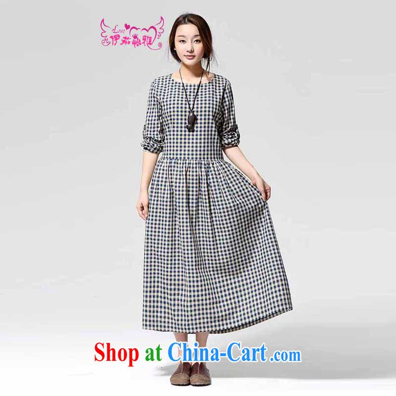 The Ju-yi, Autumn 2014 new plaid cotton dress RJ 9563 blue grid L