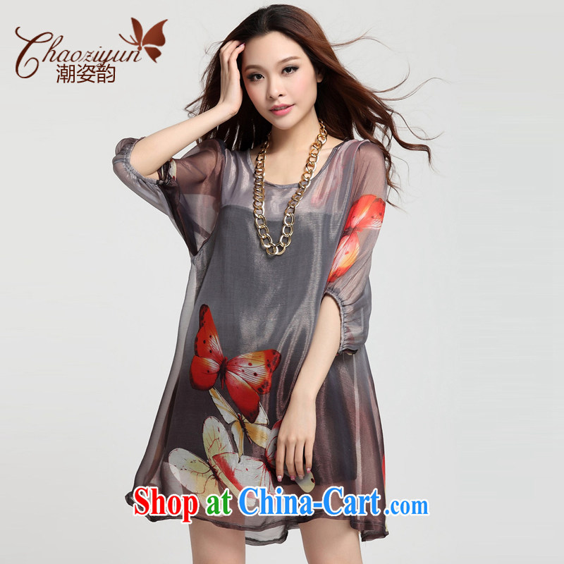 Standing wave the 2015 spring and summer new, larger female thick MM 200 Jack loose video thin butterfly stamp dresses gray XXXXL