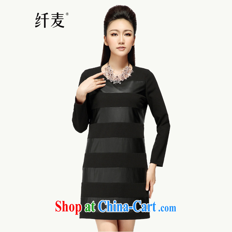 Slim, Mr Big, women fall 2014 with new thick mm stylish stripes graphics thin long-sleeved dresses skirts 43,181 black 6 XL