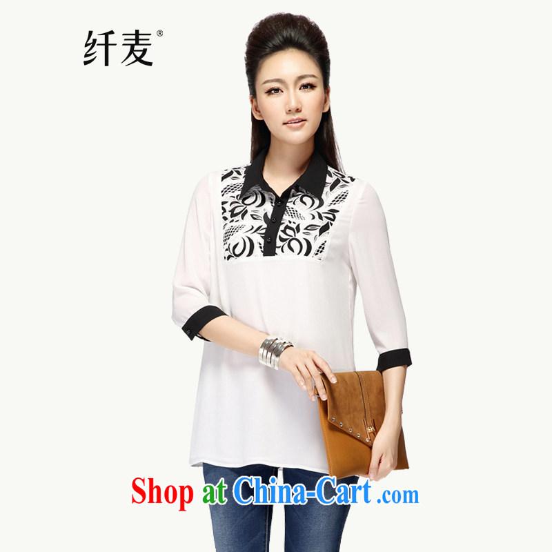 Slim, Mr Big, female 2014 autumn and winter new thick mm video thin stylish stamp leisure 7 T-shirt 43,185 white 4 XL