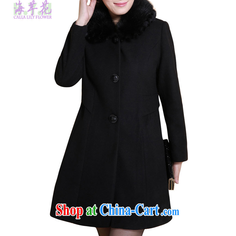 The line takes the Code women winter new Korean video thin thick mm removable double gross for three-dimensional crop cultivation, wool jacket 4723 - 3 black 5 XL