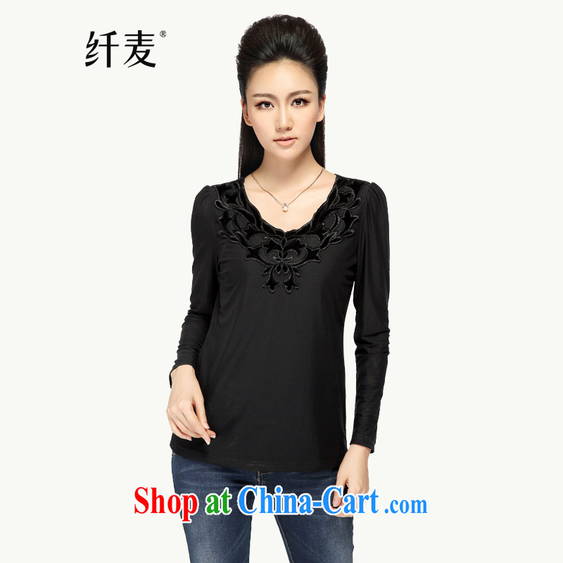 Slim, Mr Big, women fall 2014 with new thick mm stylish lace 100 ground long-sleeved T-shirt women T-shirt 43,102 black 5 XL