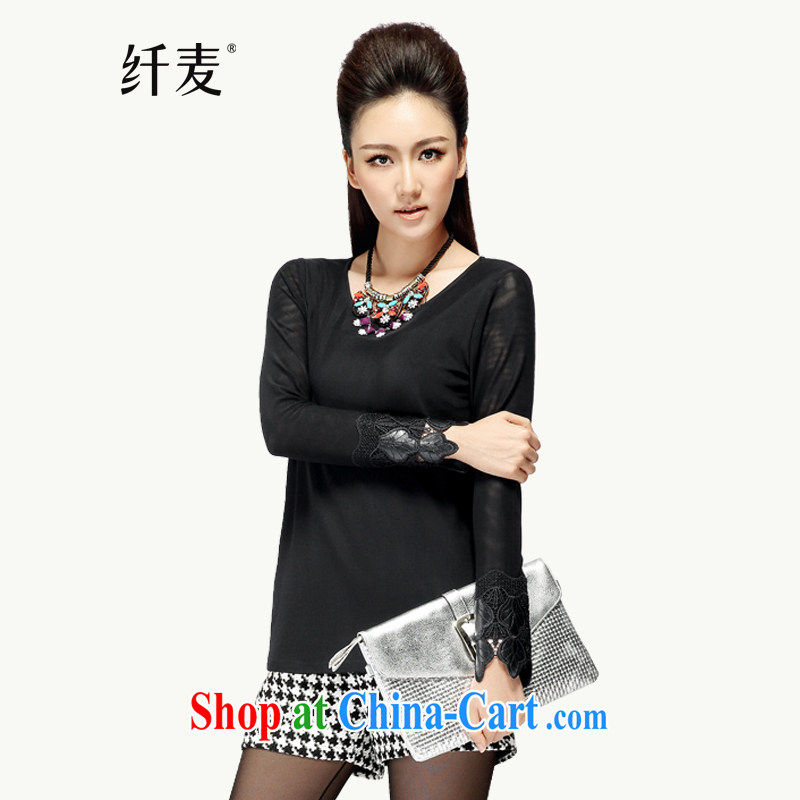 Slim, Mr Big, women fall 2014 with new thick mm stylish beauty graphics thin T shirt long-sleeved T-shirt solid black 43,156 6 XL