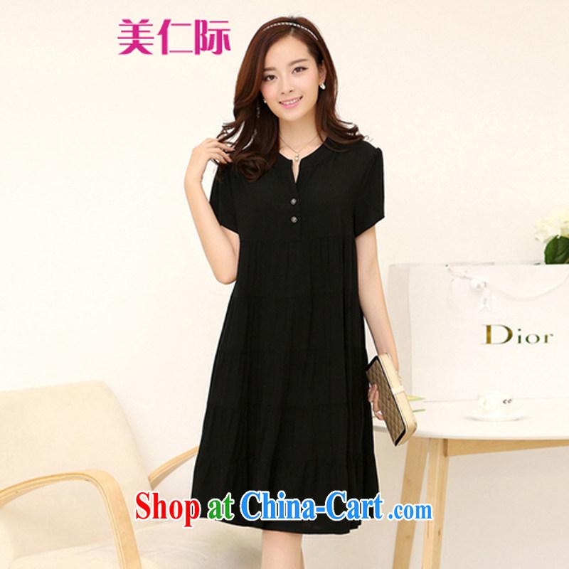 The Incheon International 4 XL new summer maximum code female graphics thin Korean thick sister relaxed dress MJ 169 black XXXXL