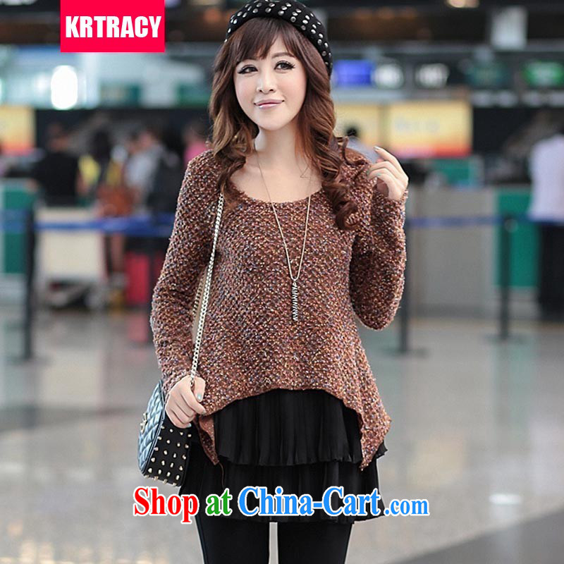 KRTRACY autumn 2015 new Korean fashion ladies XL leave two bright velour knit sweater casual sweater SY 8044 coffee XXXXL