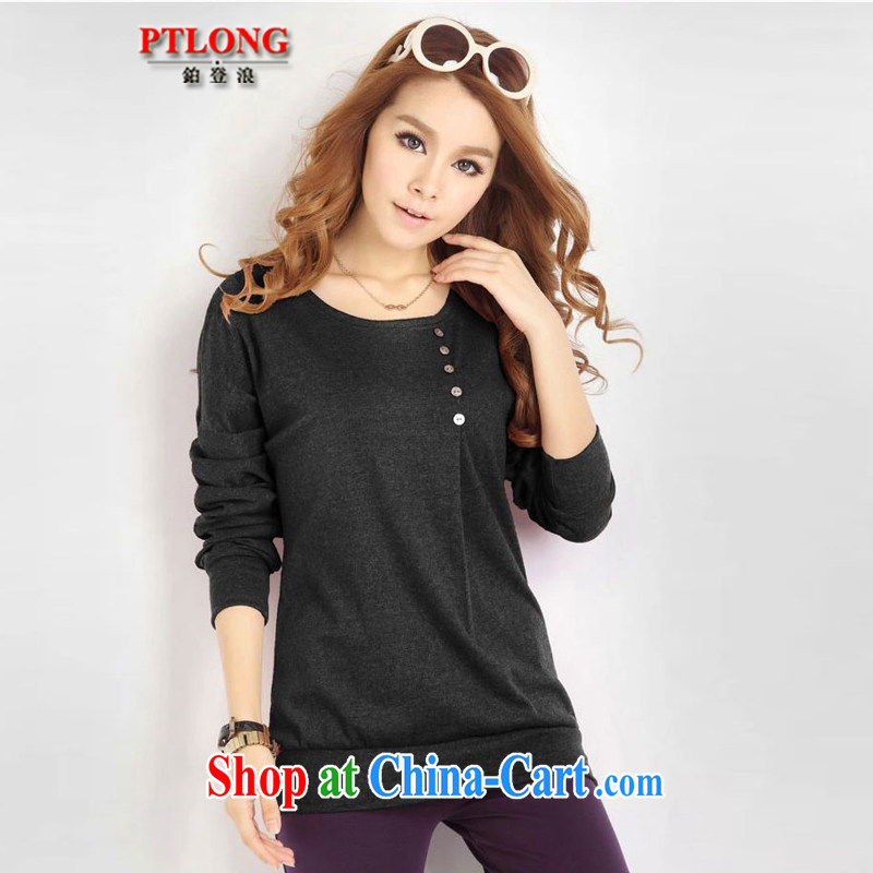 Platinum sign wave _PTLON_ Korean autumn loaded thick mm blouses loose the fat and significantly, long-sleeved T-shirt solid T-shirt gray XXXXL