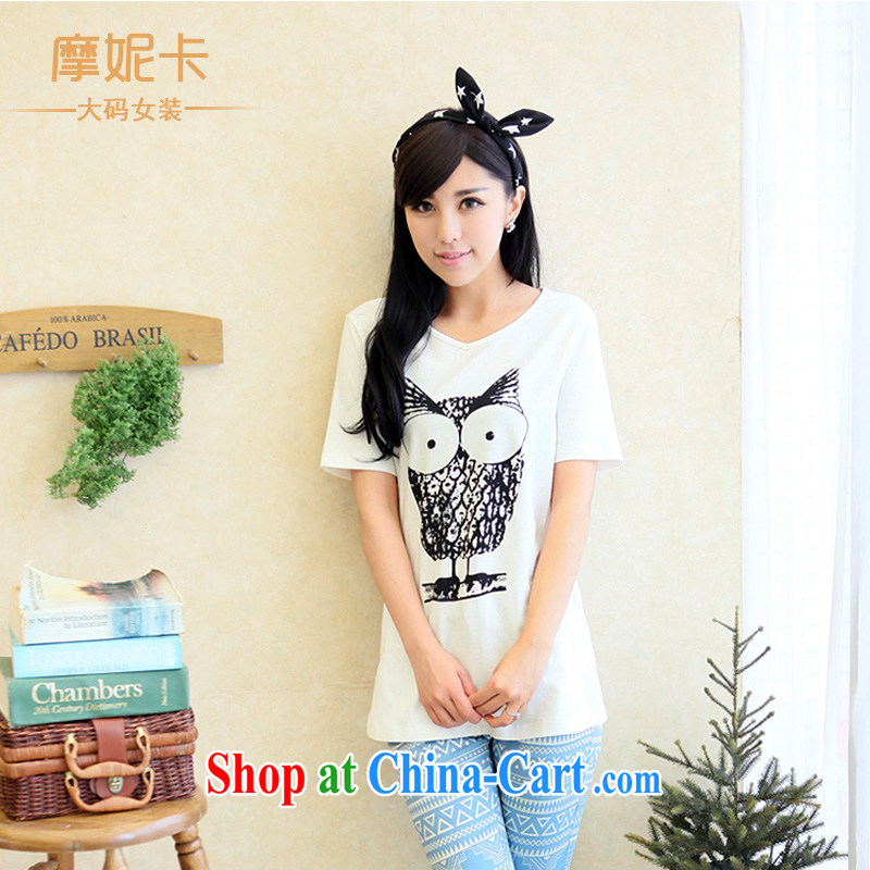mm thick summer 2014 larger female Korean version of the new, thick sister graphics thin stamp duty, long T shirt short-sleeved T-shirt white XL