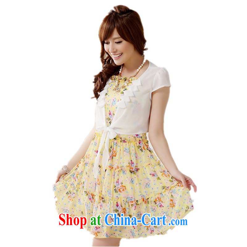 The delivery package as soon as possible e-mail in the jumbo to fat people dress sweet two-piece with Cape floral snow woven dresses XL large refreshing Indian yellow XXXL approximately 150 - 165 jack