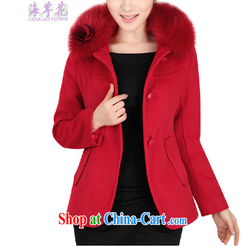 The line spend a lot, women winter new Korean version graphics thin thick mm solid color can be removed for gross General, loose hair? jacket 42 _DM red L