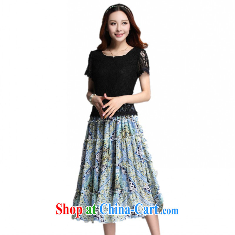 The delivery package mail, as soon as possible, to thick mm ladies dress XL elegance floral snow woven large skirt lace short-sleeved resort beach skirt Lady Black XXL approximately 145 - 160 jack