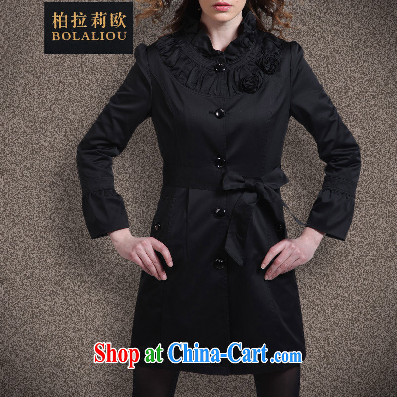 Bo-li European Women spring 2015, new style beauty of the yuan is long, autumn wind jacket coat women 113 black XL