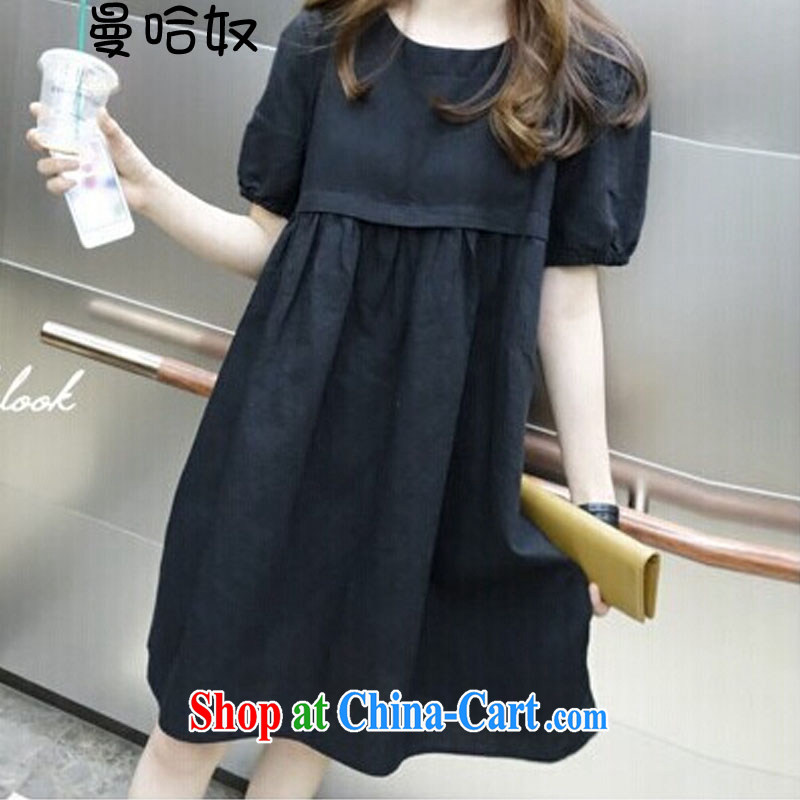Cayman, slavery 2015 summer, Korean female Korean version the Code women mm thick very casual Large Cotton mA short-sleeved dresses black XL .