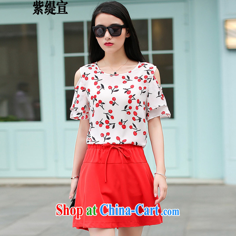 First economy Sun won and indeed XL women mm thick two-piece summer new short-sleeved loose video thin ice woven shirts T shirt T-shirt + body skirt 1662 _3 XL 150 - 160 Jack left and right