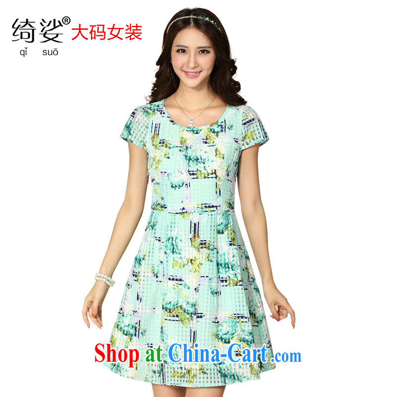 cheer for the fat increase, women with thick MM summer new European root yarn floral beauty graphics thin thick sister dress number 2181 green 4 XL