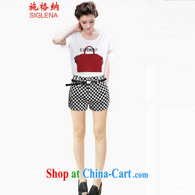 Shih, 2014 new Europe and indeed the XL thick MM female flexible snow woven short-sleeved T shirt + black-and-white mesh shorts Leisure package Women 1068 XXXL