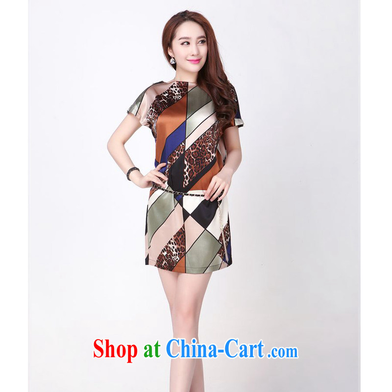 JA the 2014 summer silk skirt loose the code sauna silk striped dresses YLF - 820 Tibetan blue Leopard XXXXL