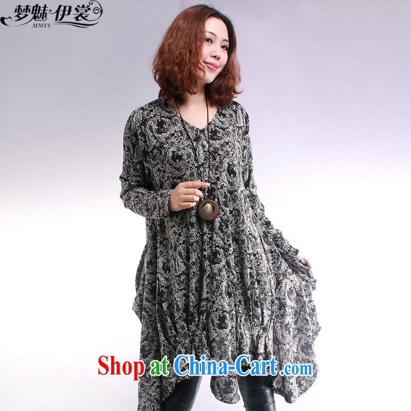 Director of the Advisory Committee during spring and fall and winter clothing and indeed XL female thick mm thick sister, long, solid knit sweater long-sleeved sweater-coat skirt retro stamp - Black loose all code chest of tile 106