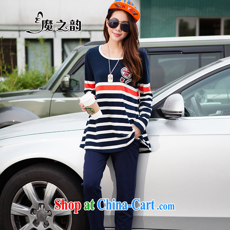 Magic of the new autumn and the FAT and FAT people, female Korean video thin strips relaxed lounge suite T long-sleeved shirt with trousers 87,831 royal blue XXXL