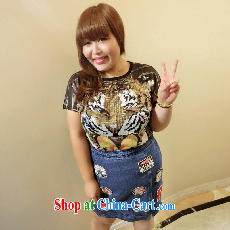 Drug addiction is the code women mm thick summer 2014 the code female Korean tiger head hot drill video thin short-sleeved X 72 black XXXL