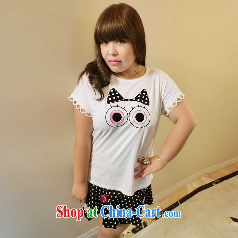 Yet the Addiction, female video thin female thick sister summer cartoon language empty video thin short-sleeved 7025 white XXXL