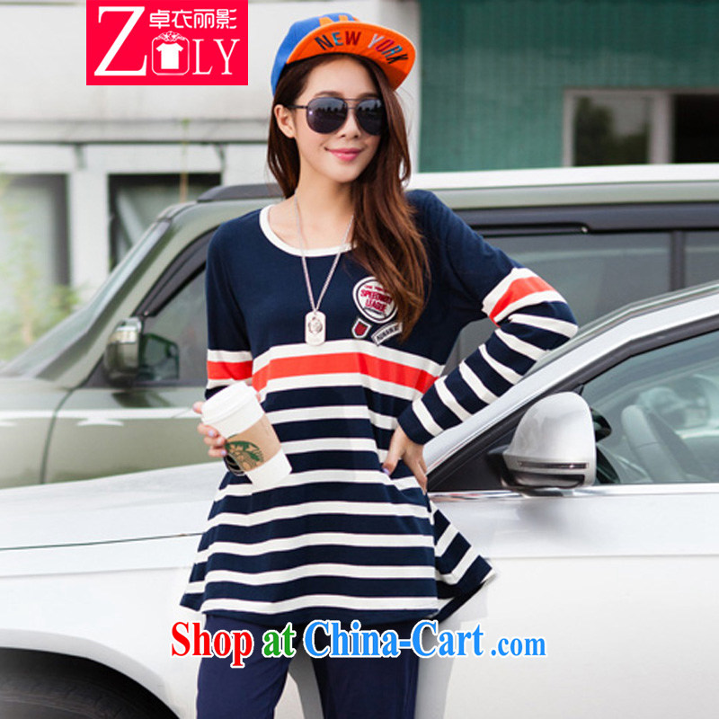 Mr Cheuk Yi Lai film 2015 the code spring round-neck collar long-sleeved striped Leisure package cotton graphics thin, uniforms S 7831 blue 4 XL