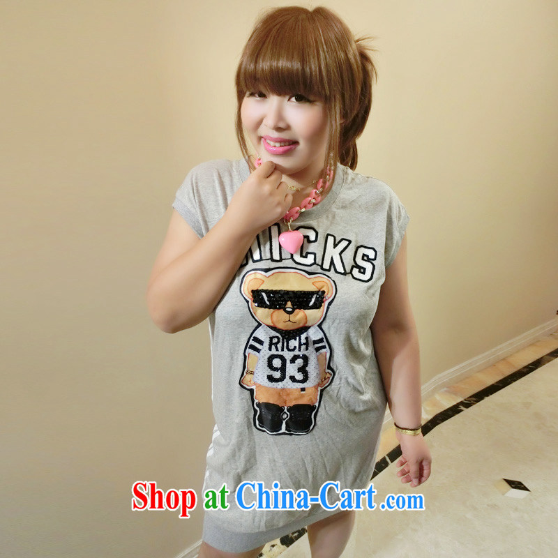 Yet the Addiction, female XL female summer 200 Jack cartoon stickers thick sister dresses 6301 gray L
