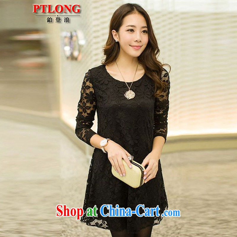 Platinum sign wave _PTLONG_ the code female Korean lace long-sleeved round-collar, spring and autumn dress mm thick and fat XL skirts black XXXXL