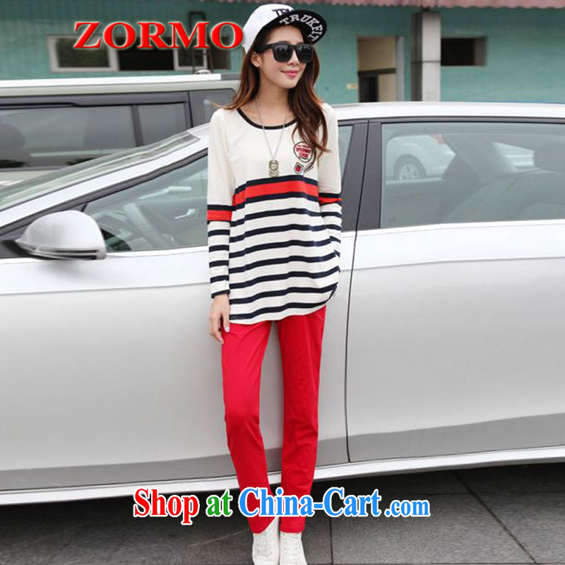 The ZORMO Code women Spring and Autumn and the fat XL Sport Kits mm thick streaks T shirt + pants 2-piece set king size code package red XXXXL