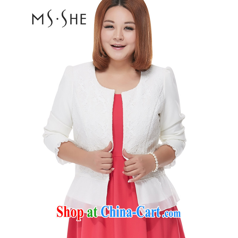 msshe XL ladies' 2015 spring new Korean version mm thick beauty graphics thin T-shirt jacket 7545 White - Spot 6 XL