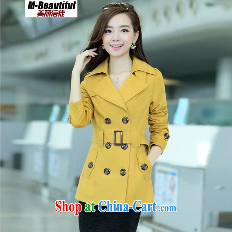 2015 spring new women with larger female jacket short windbreaker thin girls spring jacket double-standard cotton OL van yellow XXXL