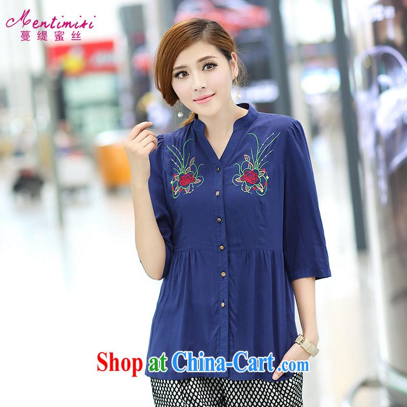 Mephidross economy honey, King, women fall 2014 the new retro ethnic wind embroidery, T-shirt 1662 large blue code 4 XL