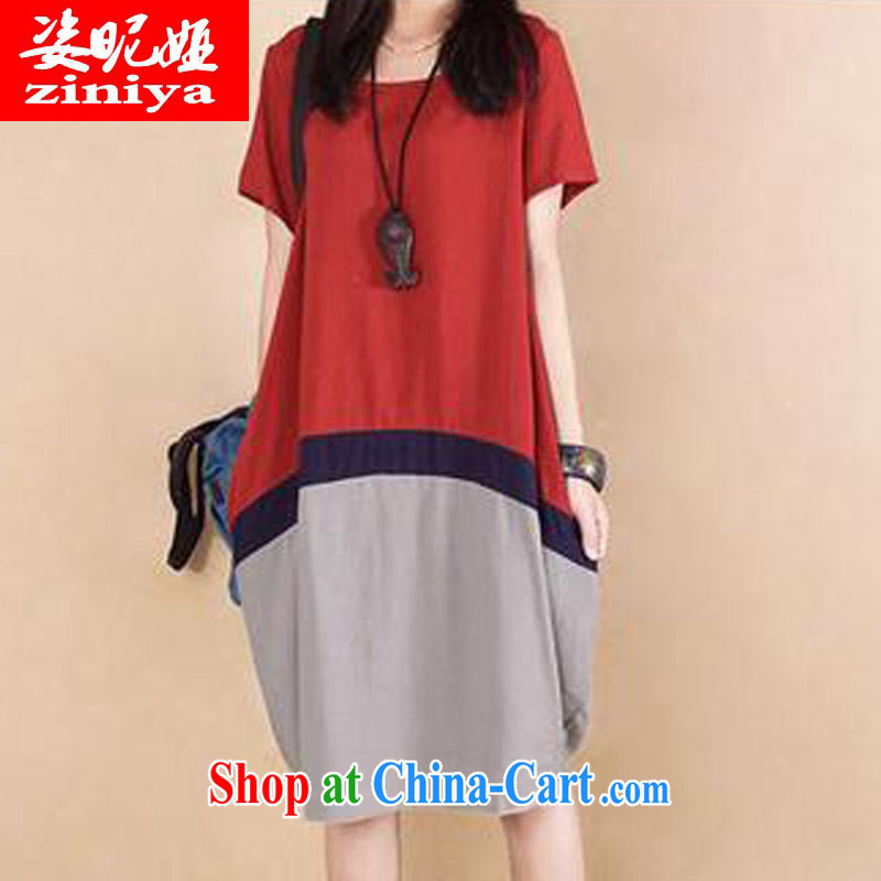 Colorful nickname Julia 2014 summer ripstop taffeta overlay dress code the Korean Hit color stitching cotton the Summer dresses red XXL