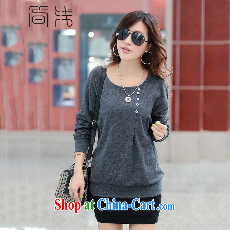 Shallow autumn 2015 the new Korean version the code loose long-sleeved shirt T female round-neck collar, long, solid shirts women 8075 light gray XL