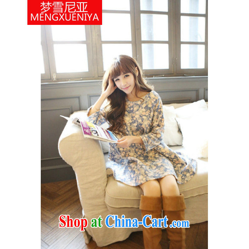 Dream snow in pregnant women with autumn and the new oil painting floral pregnant women dress 100 7 ground-cuff pregnant women dress light blue XL