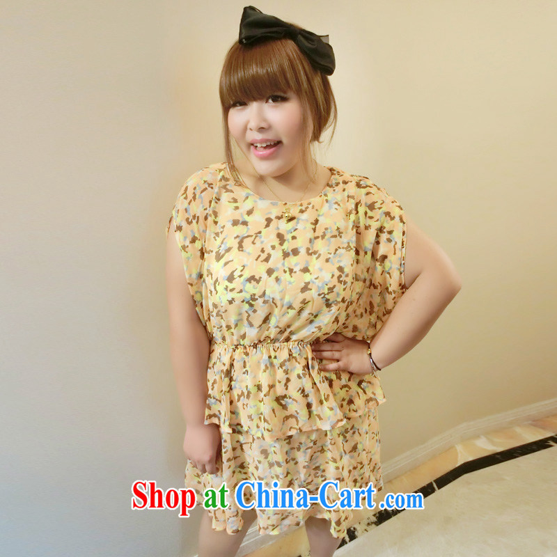 Yet the Addiction, female thick mm summer graphics thin Korean thick sister larger snow-woven dresses6015 orange XXXL