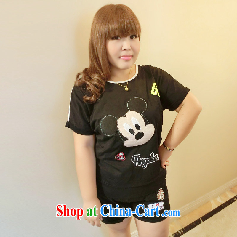 Yet the Addiction, female Korean thick sister 200 Jack King, cartoon stickers, embroidered loose two-piece 7012 black L