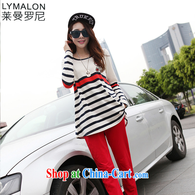 Lehman Ronnie lymalon fat people graphics thin 2015 spring and autumn, the Korean version of the greater code female fashion loose streaks T pension two-piece 7831 red XXXXL