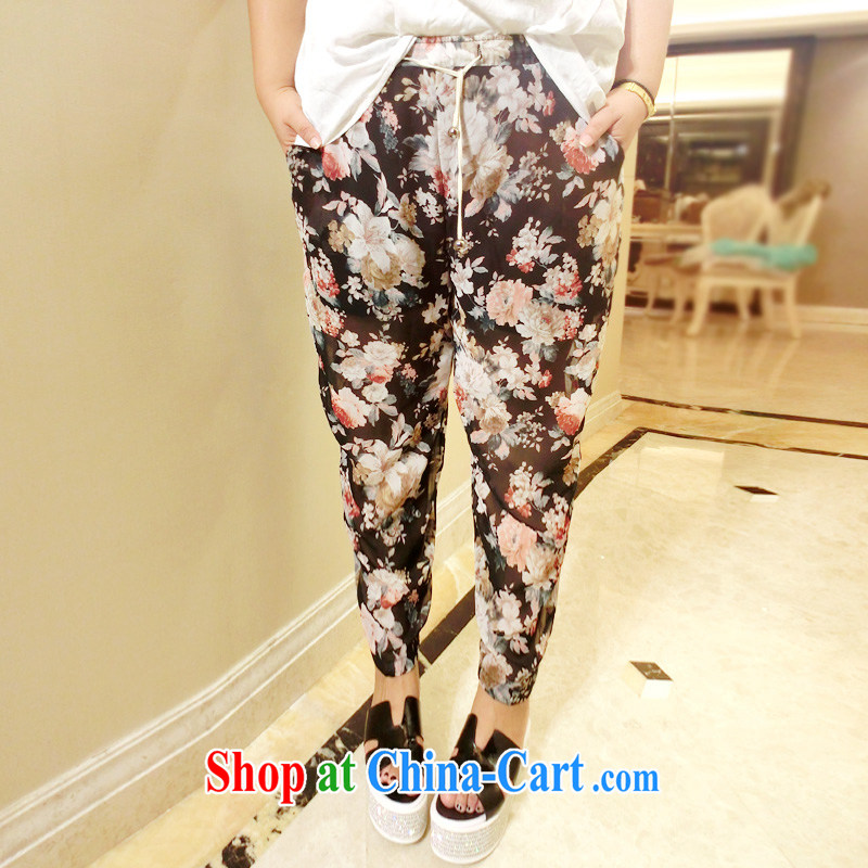 Drug addiction is the code's maximum code summer new Korean loose floral graphics thin XL snow woven pants 9543 black L