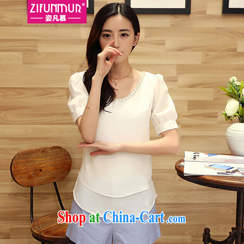 City where the 2015 spring and summer new, larger female bubbles snow cuff woven round-collar loose video thin and solid ice woven shirts MS 8446 white XXXL