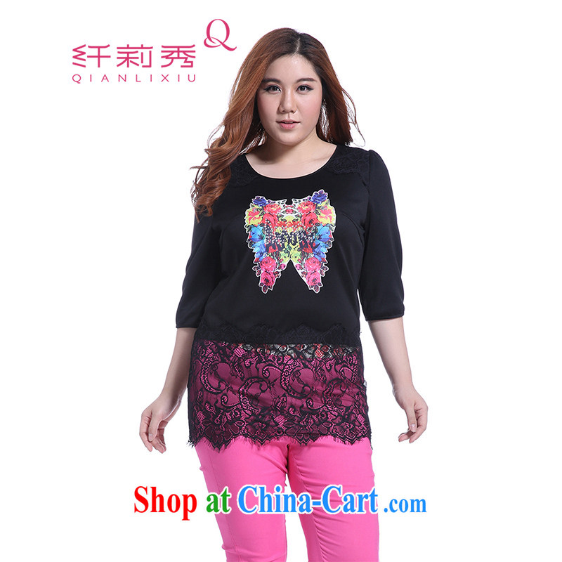 Slim Li Su-new, larger female candy knocked-color overlay, only the US lace stitching 7 sub-sleeved gown Q 5122 black XXXXL