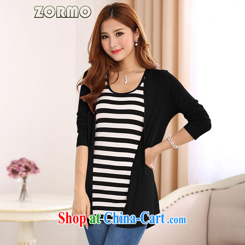 The ZORMO Code women Korean version mm thick and fat XL cotton cardigan spring air-conditioned shirt summer sunscreen shirt black 5 XL