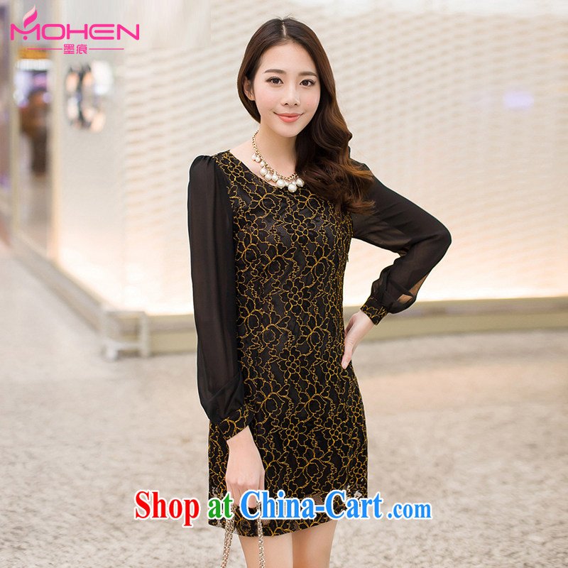 Scratches are present on the 2014 autumn King, new Korean fashion ladies lace check take stitching snow woven long-sleeved A field dresses simple thick mm lace skirt black XXXL